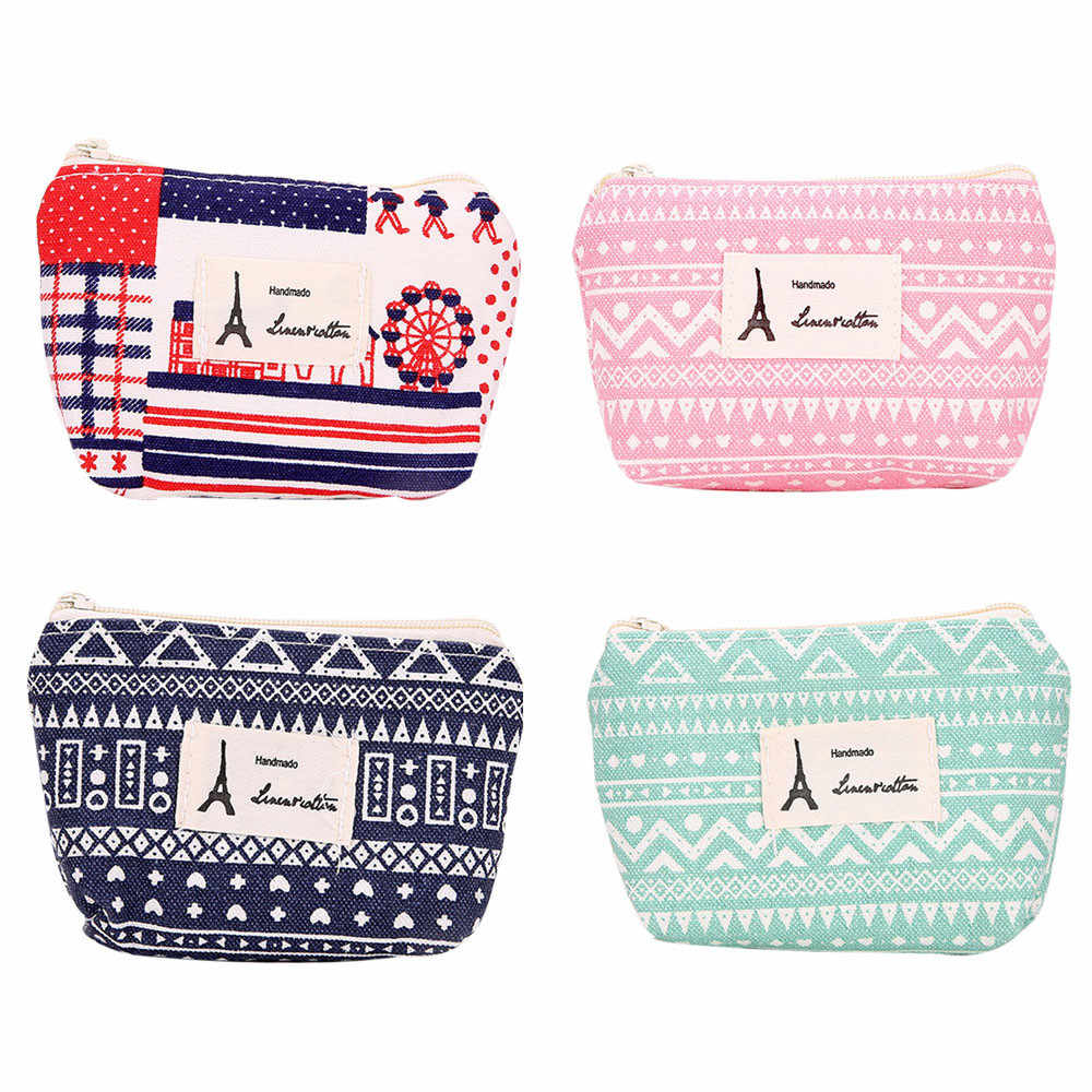 59d591a54f0 2019 Fashion Teenage Women Wallet Cute Small fresh Flower Coin Purse Canvas  Headset Bag Change Pouch Key Holder Handbag Girls