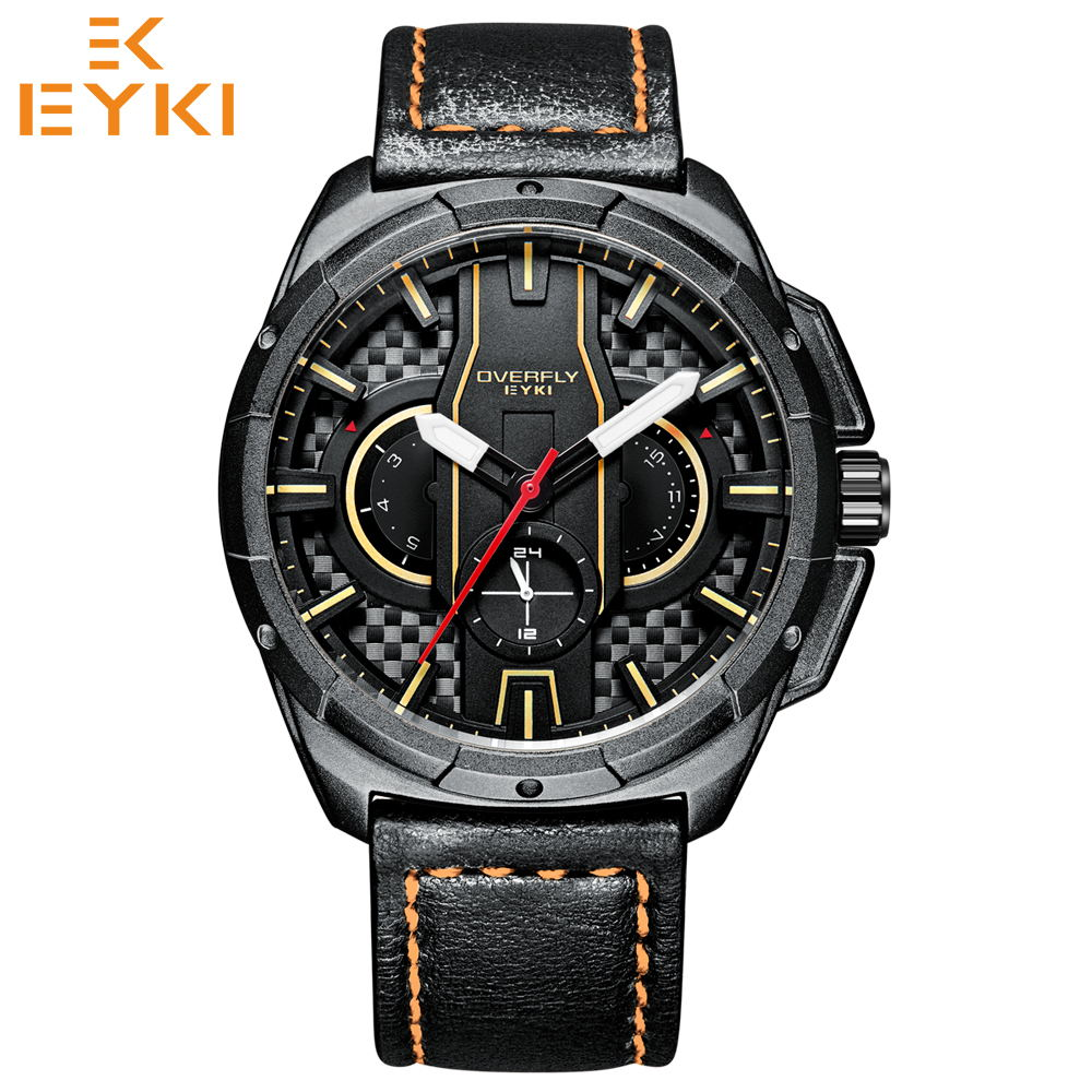 EYKI Sport Men s Watches Top Brand Luxury Quartz Military Clock Leather Strap Waterproof Luminous Date