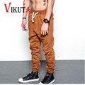 Vikuta mens hip hop de moda pantalones high street hombres pantalones de punto elástico en la cintura con una cuerda lápiz casual pantalones espesar vc4653