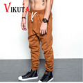 Vikuta mens hip hop fashion pants high street pants Men knitted elastic waist with string casual pencil thicken pants VC4653