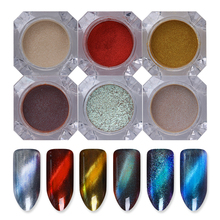 BORN PRETTY 6 Boxes 3D Cat Eye Powder Magic Mirror Powder Dust UV Gel Polish Nail Glitter Magnetic Pigment Dust