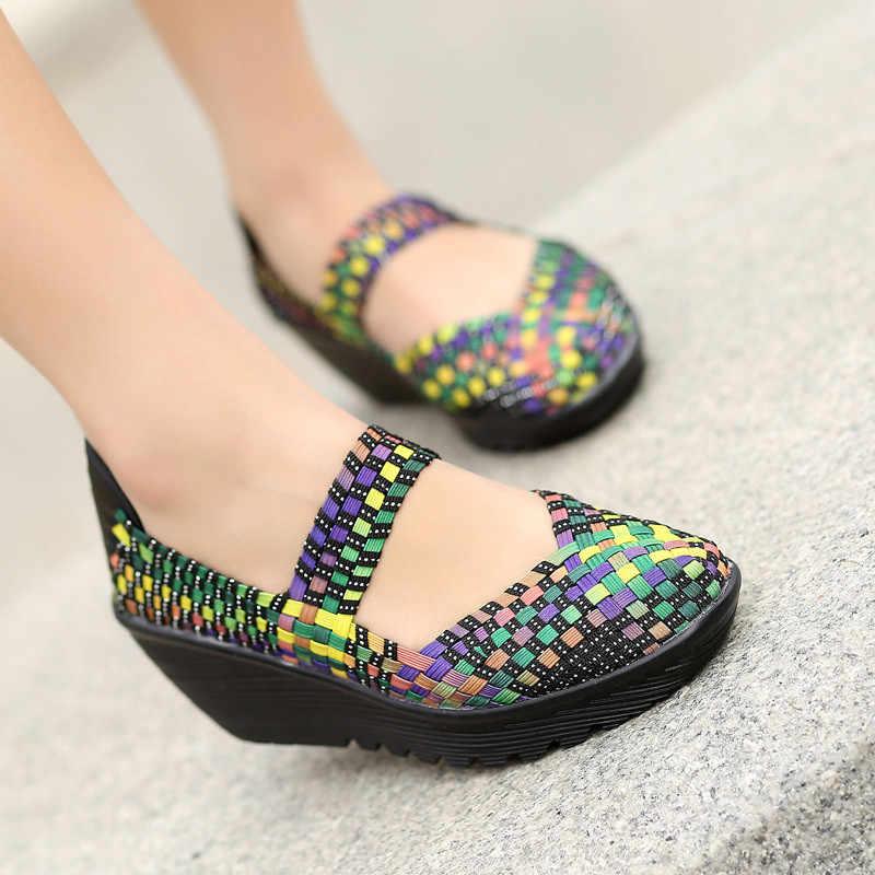 BEYARNE 2018 été femmes plate-forme sandales chaussures femmes tissé chaussures chaussures plates tongs femmes Multi couleurs dames chaussures