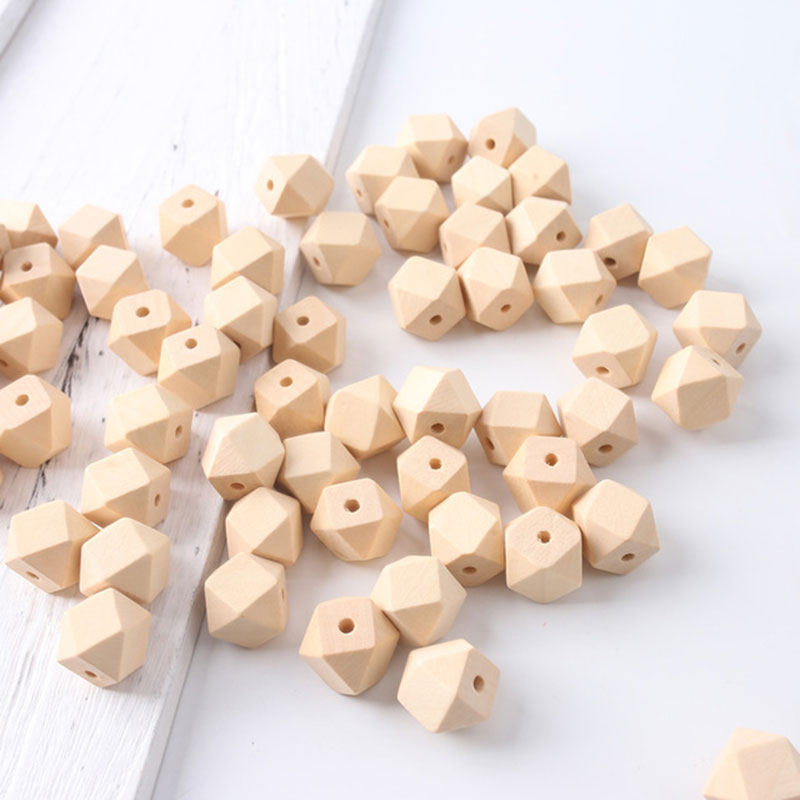 Loose Beads Beech Wooden Faceted Hexagon Wooden Unfinished Octagonal Geometric Spacer Beads For Jewelry Handmaking DIY Accessory