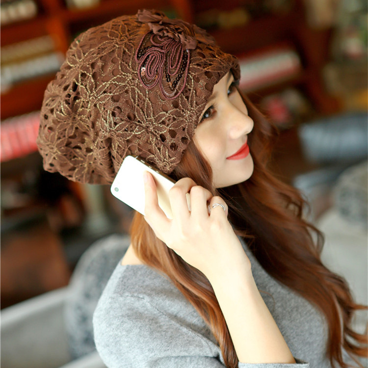 2018 New Cap Hat Lady Autumn And Winter Hollow Lace Double Flowers For Confinement Warm Manufacturers Wholesale Direct Sales
