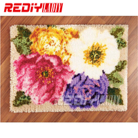 DIY Carpet Rug Colorful Peonies Blanket Latch Hook Rug 3D Crocheting Tapestry Acrylic Yarn Cushion Set for Embroidery Floor Mat