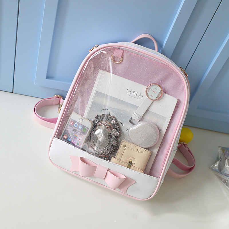 RU BR High School Students Korean Large Capacity Backpack Fashion Bowknot Bag Transparent Pink Girl Cute