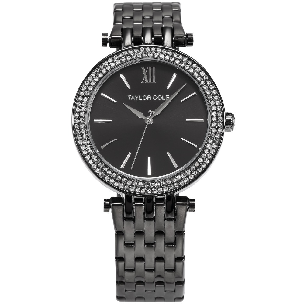 Luxury Aglaia TAYLOR COLE Zegarek Damski Rhinestone Case Black Stainless Steel Strap Women Fashion Dress Watch Relogio / TC004 цена 2017