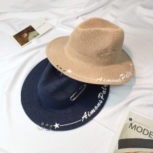 2017 Alphabet Visor Female Summer Hats For Women Straw Hat Snapback Sunscreen Leisure Panama Folding Beach Girls Sun Caps