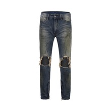 High Street 2019 Vintage Mens Hole Biker Jeans Slim Fit Washed solid blue Color Denim Pants Joggers Skinny Men zipper jeans цены онлайн