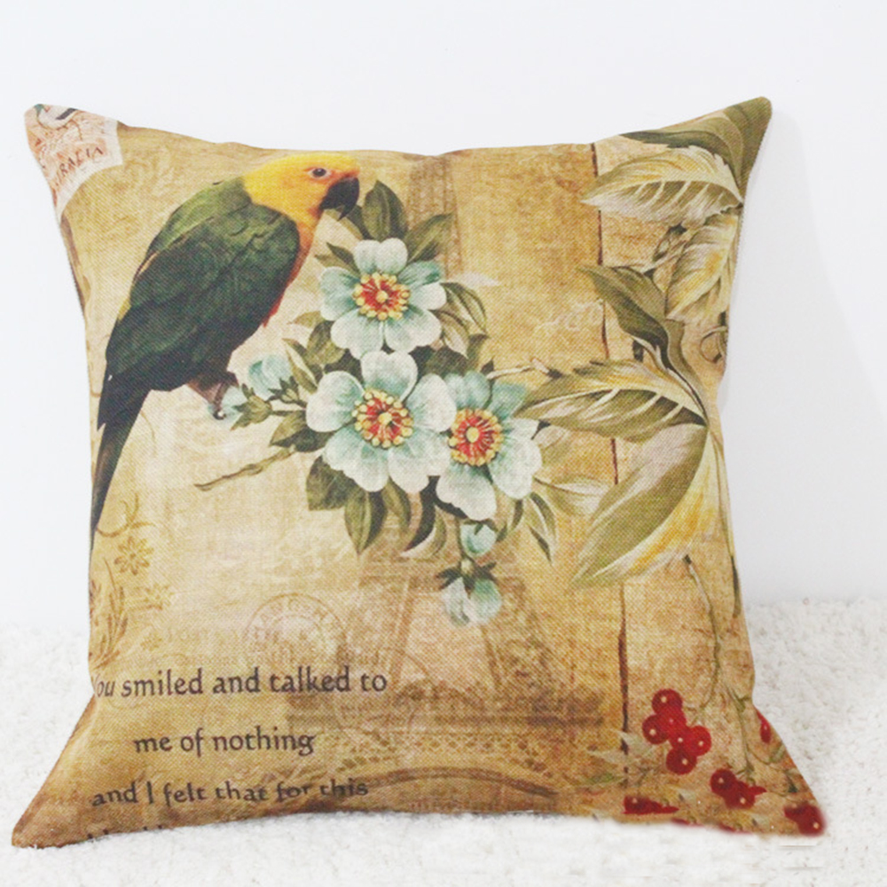 Bird Cushions Covers with Flower Linen Cotton Printed Throw Pillow Covers Home Decorative Pillowcases for Sofa Couch Bed 45x45