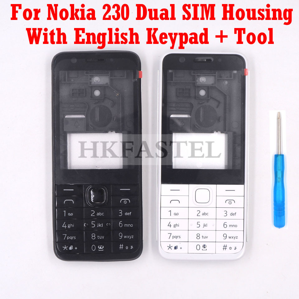 For Nokia 230 Dual SIM New Full Phone Housing Cover Case + English Keypad +Tools Free Shipping