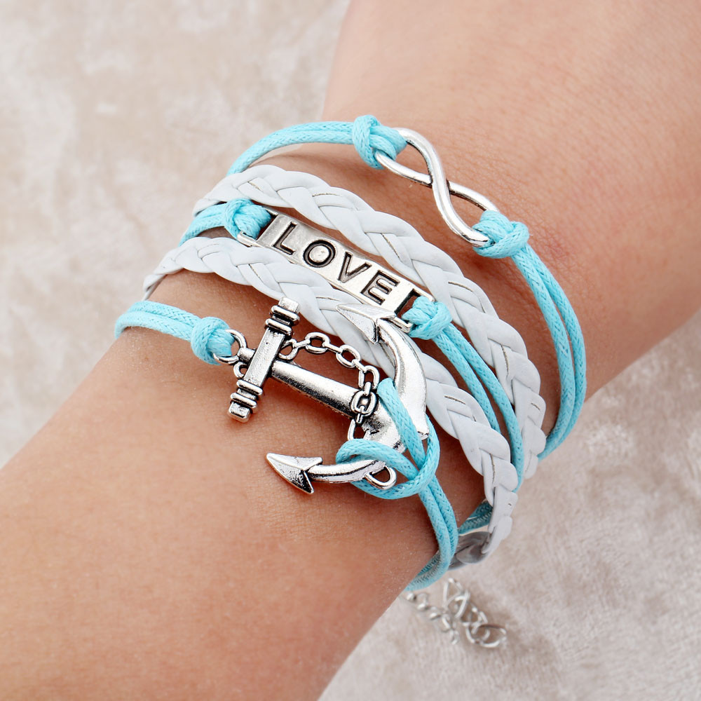 Hot Promotion Bracelets Anchor And Owls Charm Bracelet Wax Cords Leather  Women Bracelet Pulseras Couro Mens Bracelets Gift