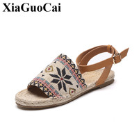 2017 Summer New Women S Sandals National Style Weaving Canvas Leather Shoes With One Buckle Belt