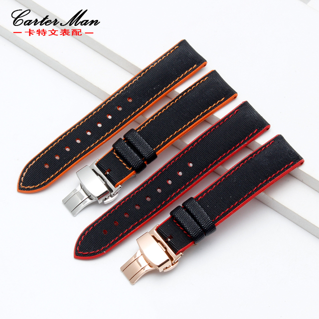 High quality and soft genuine leather with Waterproof rubber bottom watchband for men's Sports military Watch Band Strap 20 22mm