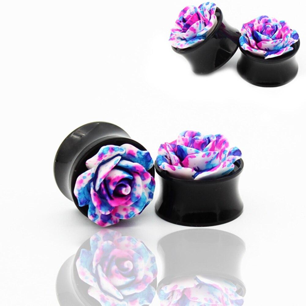 1 Pair 3D Shiny Acrylic Rose Ear Plugs Gauges Double Flare Round Flower Saddle