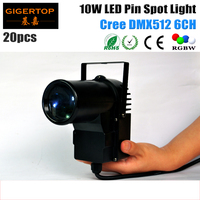 20pcs Lot Black Case 10W Cree Lamp 4IN1 LED Pinspot Light DMX512 Control LED Rain Stage