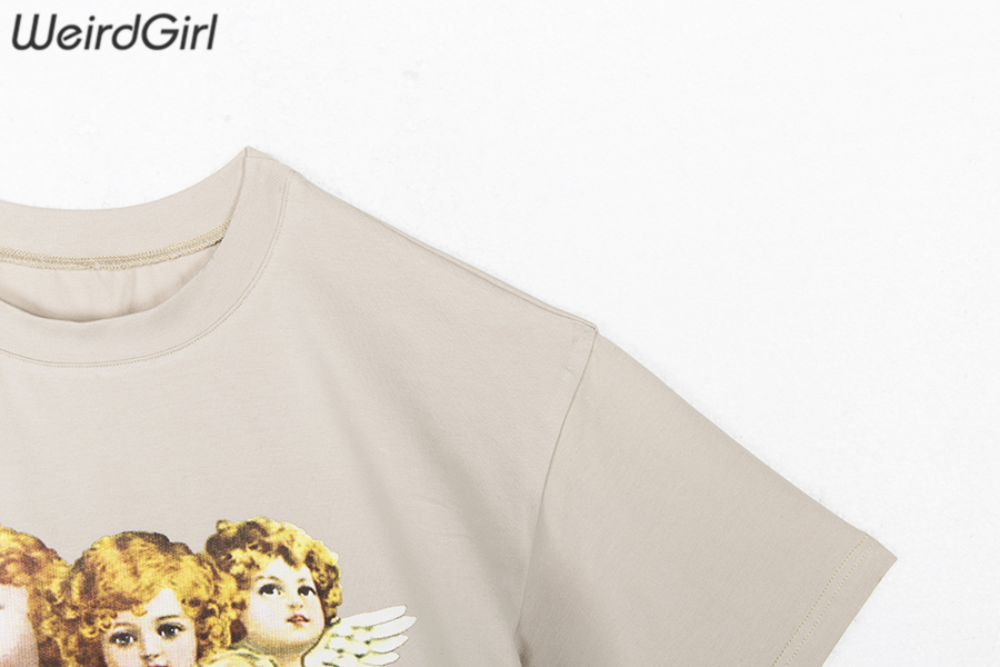 Weirdgirl Women Baby Angel Printing Casual Fashion T-shirts letter Short Sleeve O-Neck Khaki Loose Female Tees Summer New 19 7