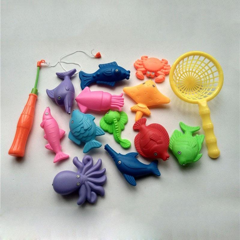 14pcs Set Magnetic Fishing Toy Game Kids 1 Rod 1 net 12 3D Fish Baby Bath Toys Outdoor Fun Free Shipping