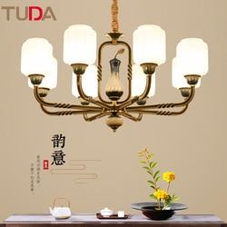 TUDA LED żyrandol chiński styl ceramiczne żyrandol salon sypialnia jadalnia miedziany żyrandol E27 110 V 220 V w Wiszące lampki od Lampy i oświetlenie na