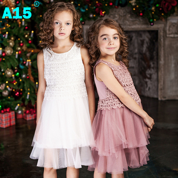 A15 Princess Dresses for Little Girls Dress Girl Baby Summer 2017 Red Dress for Girl Flower Lace Princess Prom Age 3 6 8 10 Year