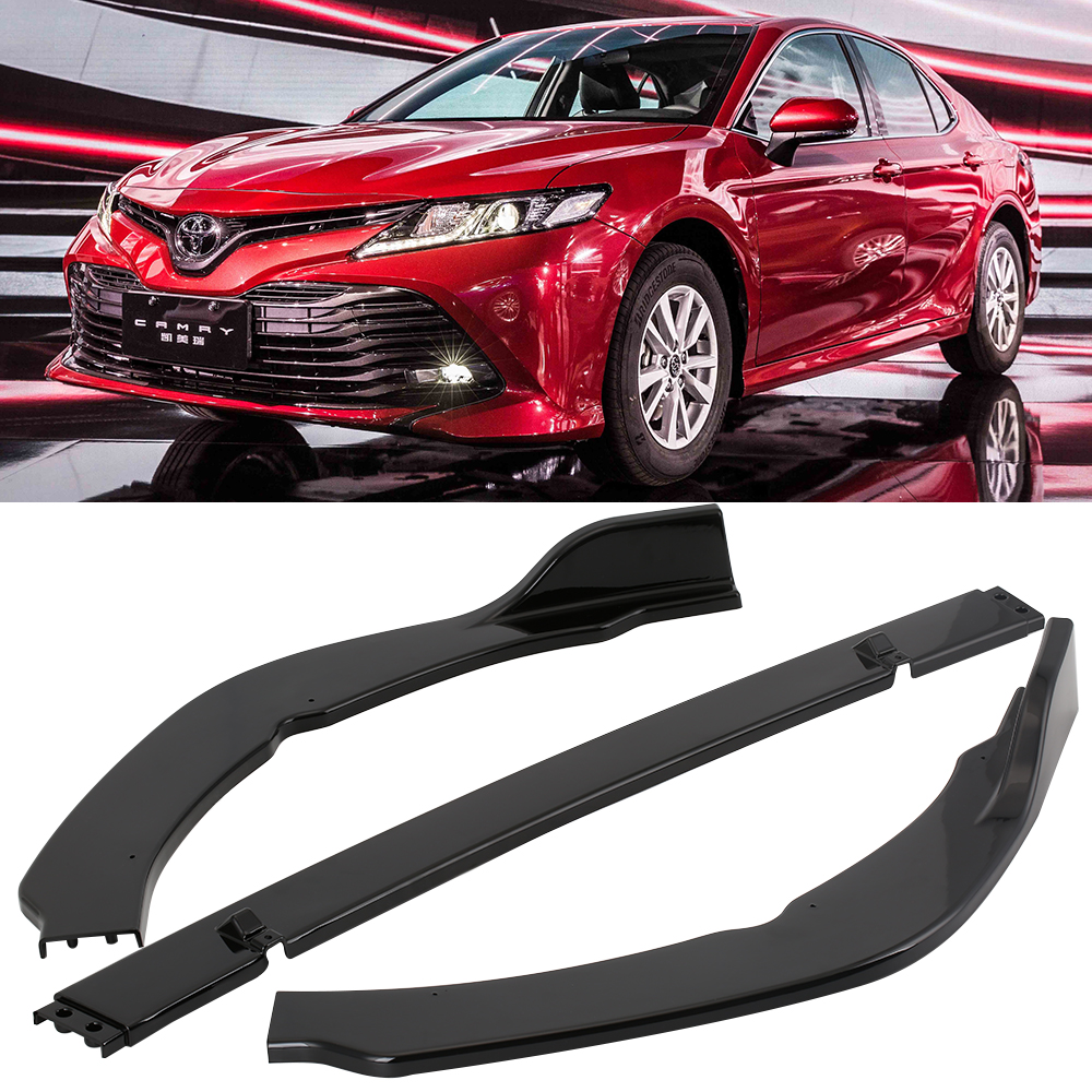 3Pcs ABS Front Bumper Lip Cover Trim Matt Car Front Lip Bumper Cover Sticker Protecter Decorative For Toyota Camry 2018 SE/XSE lx 4846 universal key ignition ring decorative sticker for car silver