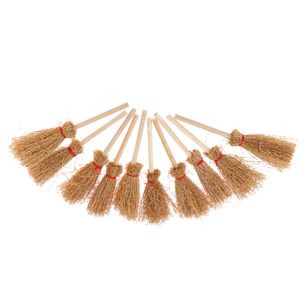 1/12 Dollhouse Miniature Wooden Bamboo Broom Set Mini Dolls House Household Cleaning Tools Micro Landscape Decor 10 Pieces