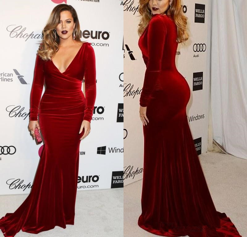 Red Long Sleeve Plus Size Formal Dress – fashion dresses