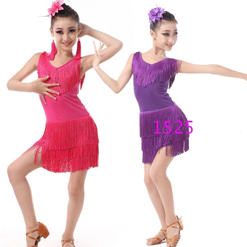 Children Professional Latin Dancing Clothes Girls Latin Ballroom Dancing Dress Kids Salsa Tassels Stage Dancewear Costumes Dress