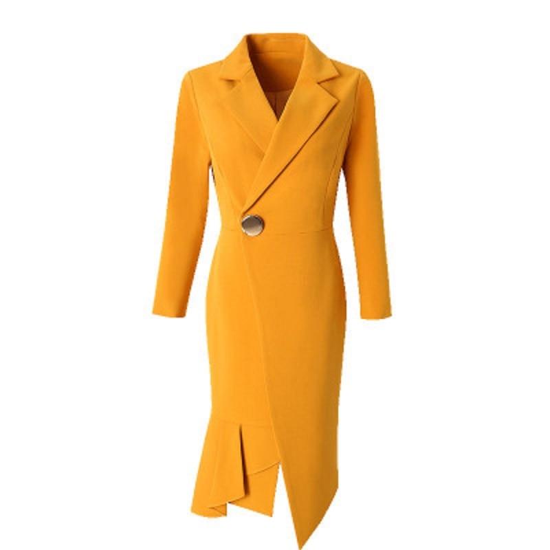 Alta Señora Mujer Amarillo Más Chaqueta Primavera amarillo Negro Botón Invierno Tamaño Otoño 2018 Calidad De Abrigos Oficina Nueva Solo Moda Ropa 5q1Yff