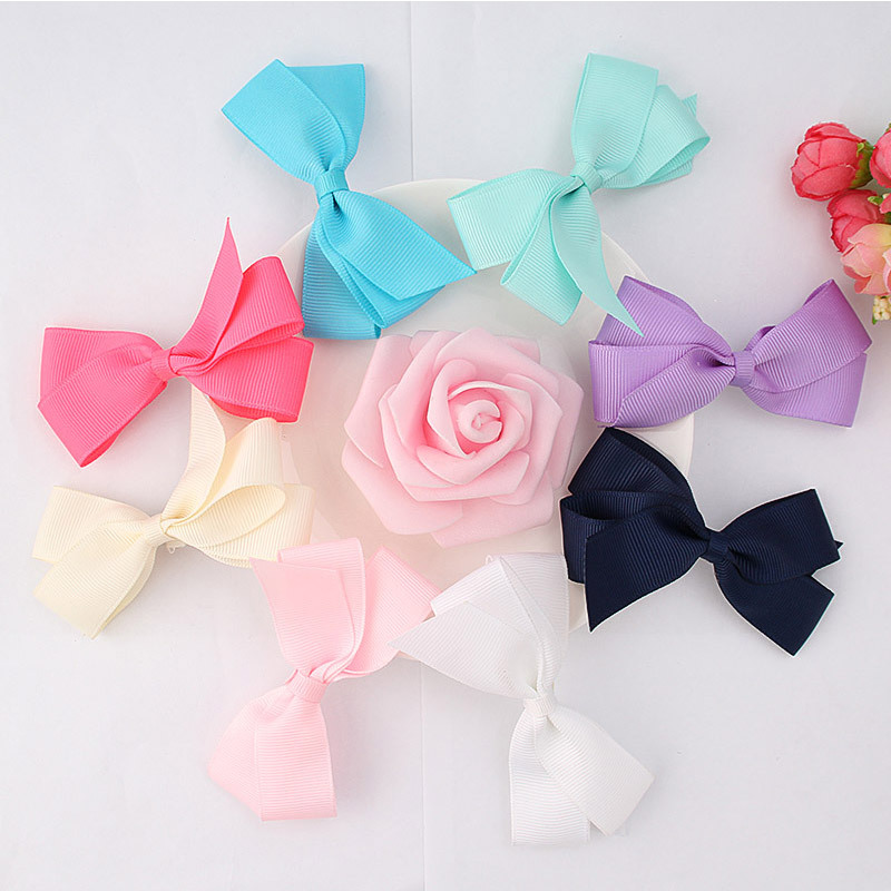 8pcs lot Hot Sale Ribbon Hair Bows Hair Clips For Girls Solid Barrettes KIDS Hair Decoration Accessories in Hair Accessories from Mother Kids