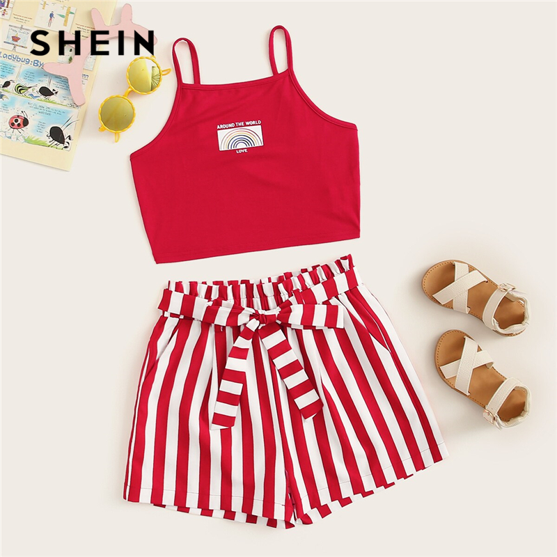 SHEIN Kiddie Red Graphic Print Crop Cami Top And Paperbag Waist Striped Shorts Boho Set 2019 Summer Holiday Belted Two Piece Set(China)