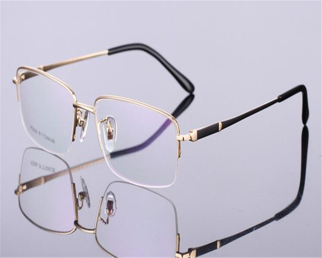 798fe470699bd DOWER ME Pure Titanium Fashion Half Rim Business Brand Design Black Gold Clear  Lens For Myopia Vision Eyewear Frame RS994