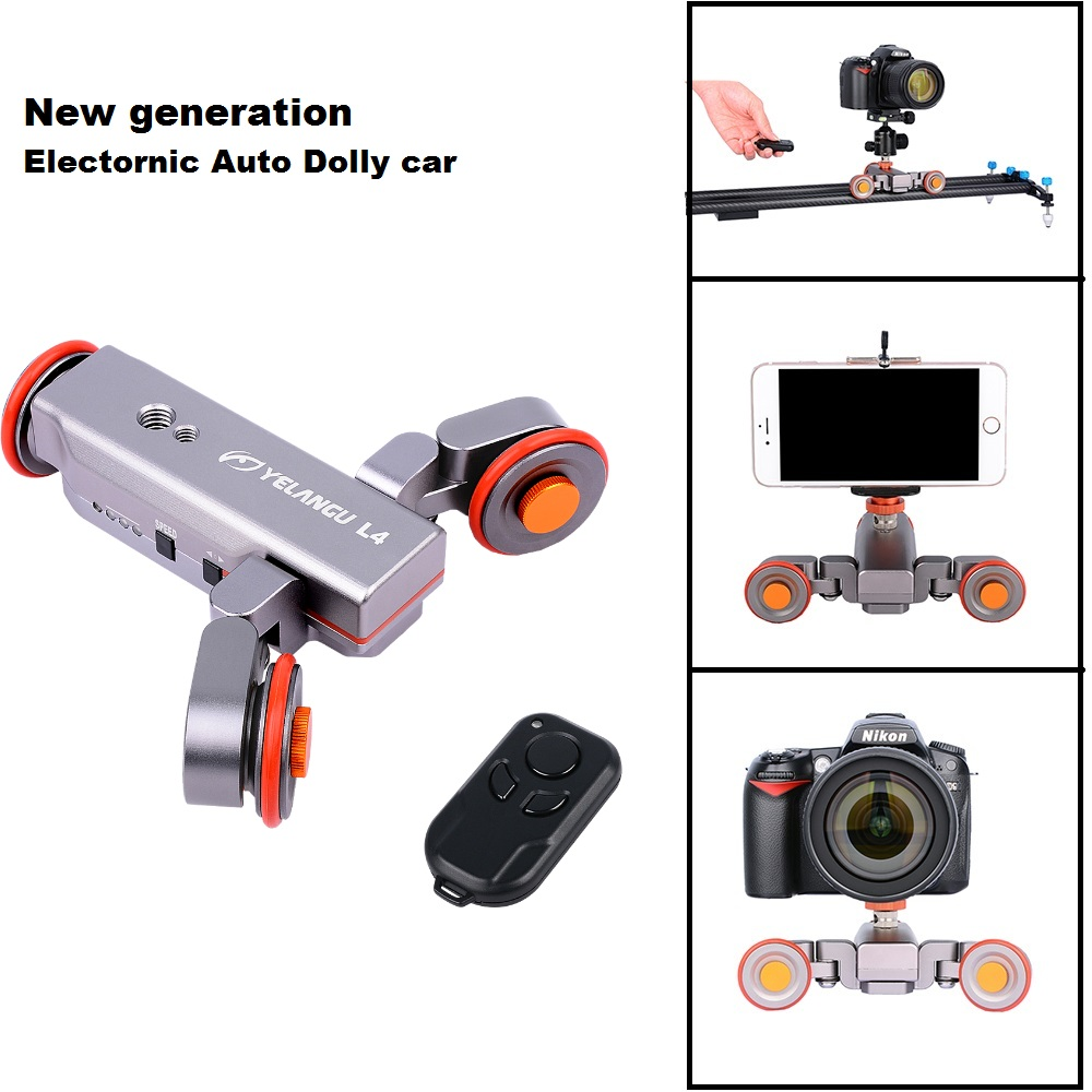 YELANGGU Autodolly Wireless Remote Camera Motorized Dolly Car DSLR Electric Track Slider Video Pulley Rolling Skater new 4 wheels mobile rolling sliding dolly stabilizer skater slider motorized push cart tractor for gopro 5 4 3 3 2 1 camera