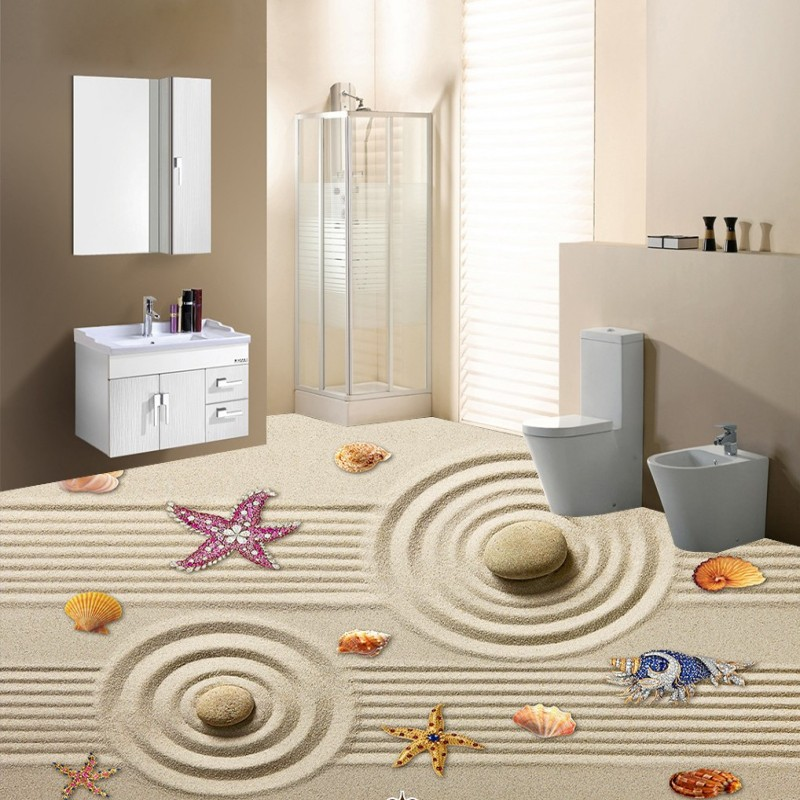 Free Shipping Beach shells starfish bathroom floor bedroom children room Self-adhesive 3D stereo flooring mural wallpaper wistino 1080p 960p wifi bullet ip camera yoosee outdoor street waterproof cctv wireless network surverillance support onvif