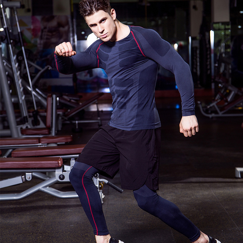 Image 5 - Yuerlian Quick Dry 3 pcs Compression Tights Tracksuit Men Train Fitness Long Sleeve Shirt Pant O Neck Gym Running Sport Suit-in Running Sets from Sports & Entertainment on AliExpress