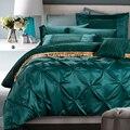 Sunnyrain $ number piezas de algodón juego de cama de lujo de seda imitado pinch plisado juego de cama rey reina ropa de cama edredón sábana cubierta