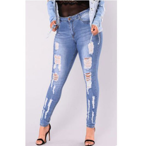 Women High Waist Skinny Jeans Ladies Ripped Stretch Jeans Pants Hole Pencil Denim Trousers Plus Size