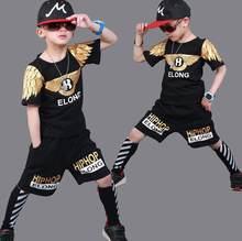 3-14 años 2 unidades deportes adolescentes ropa set trajes de verano  algodón Graffiti imprimir trajes T-shirt + shorts trajes 93babf6cee6