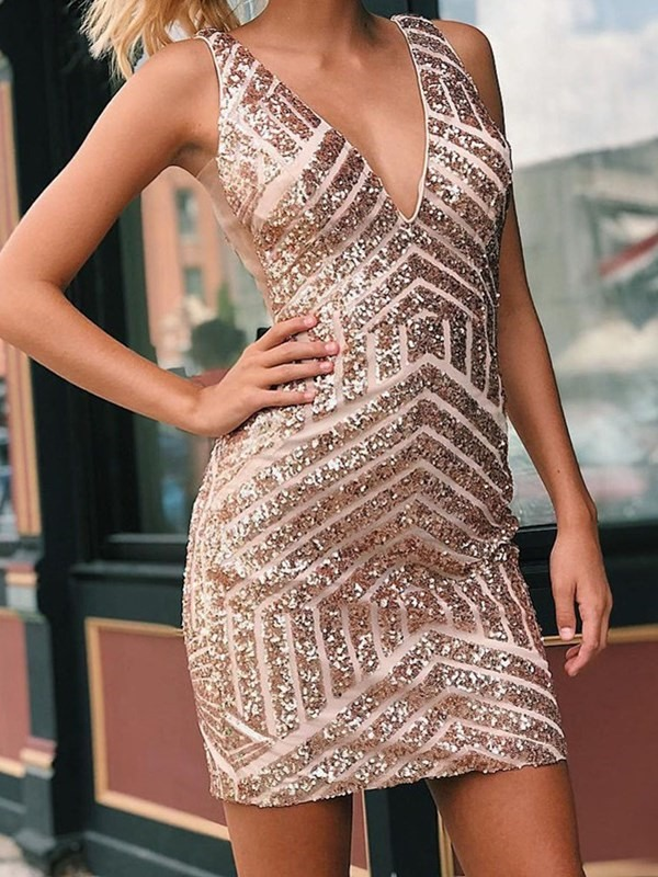 Sexy Sparkle Crystal Mini   Cocktail     Dresses   2019 Luxury Beaded Short Homecoming Party   Dress   Sheath Chic Prom Gowns V-neck