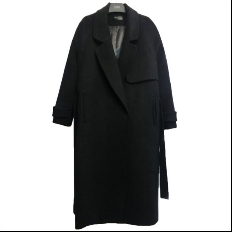 Lady Long W605 Épaissir hiver Noir Casual Manteaux Couleur Chaud De Manteau Femmes Automne Survêtement Mode 2018 Veste Laine Black BHaPxwB