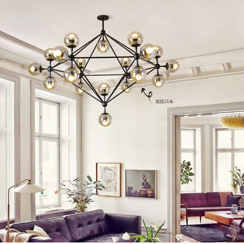 Modo Light Modern Magic Bean Pendant Lamps 5/10/15/20 Glass Ball Globes Simple DNA Lighting Fixture for Living Room Decoration modern magic bean dna molecules chandelier pendant lamp dna lamp modern glass ball lamps with 10 bulbs
