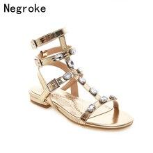 Brand Women Sandals Summer Gladiator Flat Sandals Shoes Woman Luxury Crystal Leather Strap Beach Flip Flops Sandalia Feminina цена