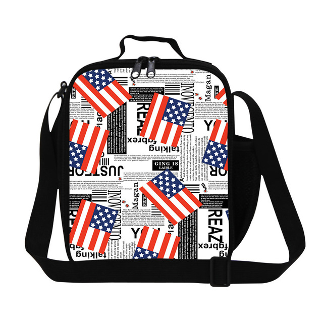 New arrival flag print insulated lunch bags,fashion crossbody lunch box bag for boys,girls lunch container,adult work lunch bag
