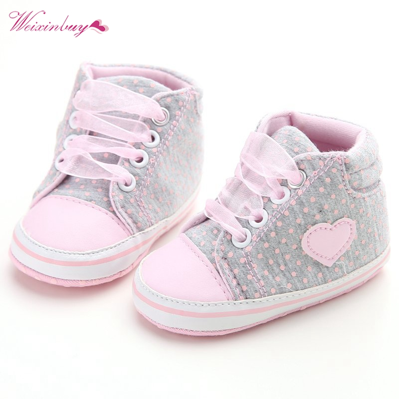 Baby Girls Classic Casual Shoes Toddler Newborn Polka Dots Baby Girls Autumn Lace-Up First Walkers Sneakers Shoes