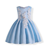 Children Girls Elegant Party Sky Blue Dress Princess Grade Prom Dress Birthday Baby Evening Dress Kid