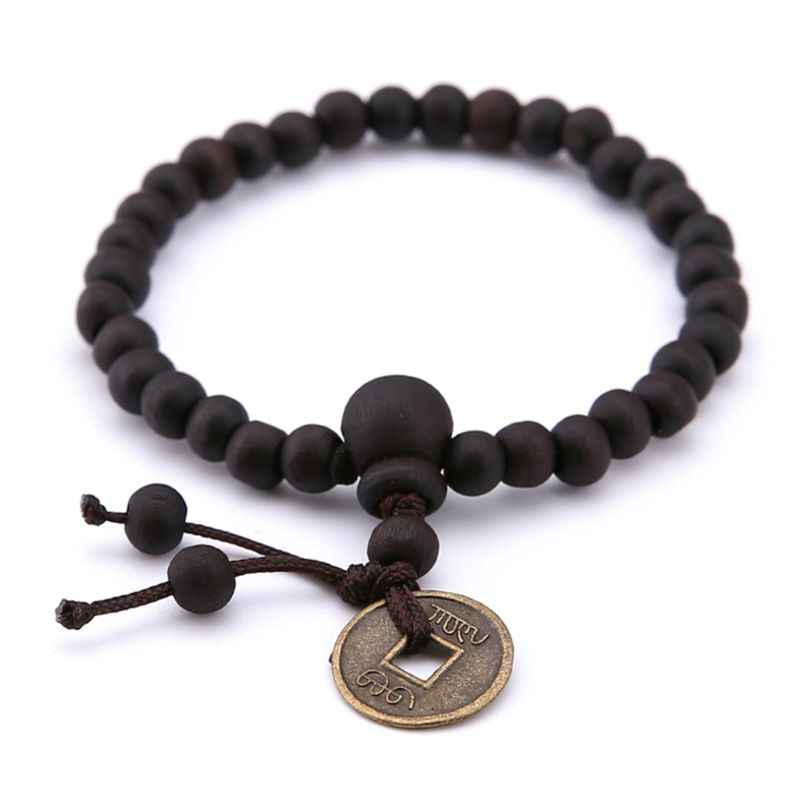 Jewelry Bracelet Natural Wood Copper Coin Buddhism Women Men Fashion Bangle Gifts Beads Religion Charms Decoration