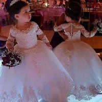 2019 かわいいジュエルネックフラワーガールのドレス長袖カバーボタンパフィーチュールレース初聖体女の子ページェントドレス