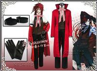 Anime Black Butler Death Shinigami Grell Sutcliff Cosplay Đồng Phục Màu Đỏ Trang Phục + Kính Carnaval Halloween Costumes đối với Phụ Nữ Người Đàn Ông