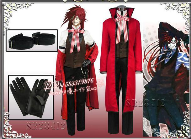 Anime Black Butler Death Shinigami Grell Sutcliff Cosplay Red Uniform Outfit+Glasses Carnaval Halloween Costumes for Women Men black butler kuroshitsuji grell sutcliff cosplay wigs long red synthetic hair women girl anime party wig red glasses chain
