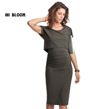 Elastic Tencel Summer Elegant Office Lady Maternity Dress and Nursing Dress